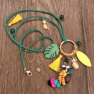 C EST. 1946 Green Cord Tropical Necklace Pineapple